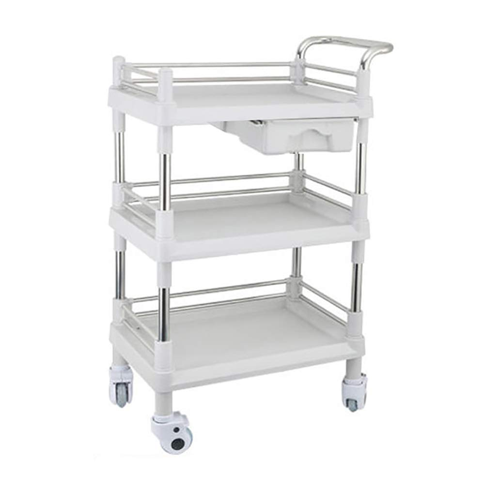ABS Stainless Steel 3 Layers Medical Instrument Trolley, Nursing Beauty Salon Tool Carts with Single Drawer, Gray (Color : 64.5×44.5×90cm)