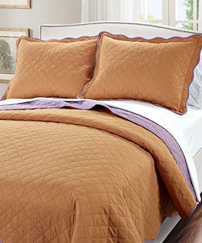 Serenta 3 Piece Solid Reversible Microfiber Quilts Set, Queen Orange and Purple