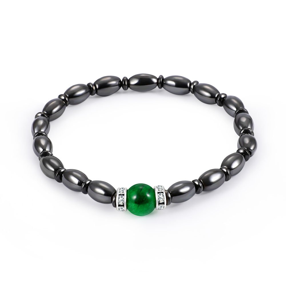 Women Men Magnetic Hematite Therapy Stretch Braided Bracelet Healing Stone with Green Gemstone Wal front Wal front73hymq5nga