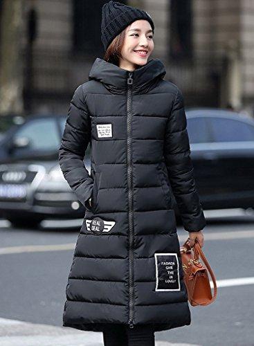 Black Larga Mujer Chaqueta Con Bigood Abrigo Para Slim De Invierno Capucha yqqrvaUYw