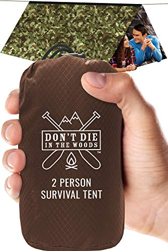 World's Toughest Ultralight Survival Tent • 2 Person Mylar Emergency Shelter Tube Tent + Paracord • Year-Round All Weather Protection For Hiking, Camping, & Outdoor Survival Kits (Camo) ()