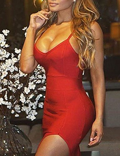 red Ninimour Z Solid Dress Women's Bodycon Side Sleeveless Slit rr8F0q