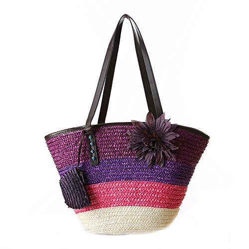 Holiday Sea Fashion Purple Beach Rainbow Totes Flower Bag Women Summer Straw Handbag Shoulder DELEY zqAUF