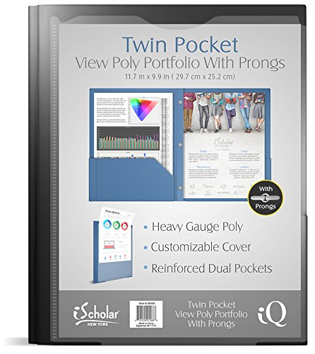 iScholar Poly View Twin Pocket Portfolio with Prongs, Color May Vary (30444) (Portfolio Poly Twin Pocket)