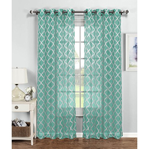 Window Elements Quatrefoil Printed Sheer Extra Wide 54 x 96 in. Grommet Curtain Panel, Turq/White