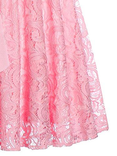 Cocktail Chic Robe SUPPLY Demoiselle Dentelle Soire avec V Col Femme Rose Robe KT en sans Robe Ceinture d'honneur Manches dvwqIB