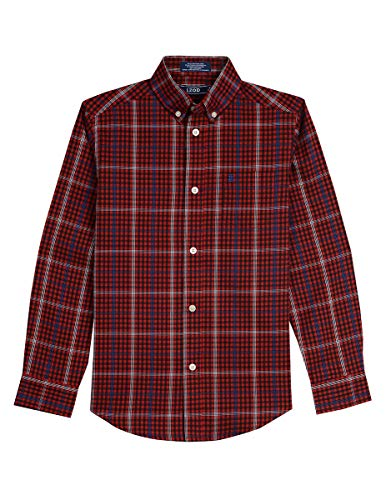 - Izod boys Long Sleeve Gingham Button-Down Dress Shirt, Roasted Rouge, Medium(10/12)