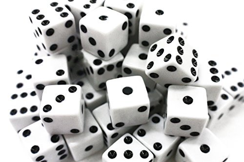 Ifavor123 Bulk Pack of 100 Dice - Standard Size 16MM (White Dice)