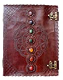 Pearl Leather Seven Stone Chakra Book of Shadows College Book Poetry Notebook Office Diary Book Sketch Book 10 x 13 Inches