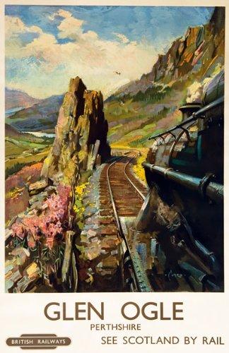 By Rail to the Highlands Scotland British Railways Vintage Travel Poster Print
