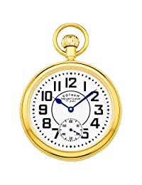 Gotham Men's Gold-Tone Mechanical Hand Wind Railroad Pocket Watch # GWC14102G