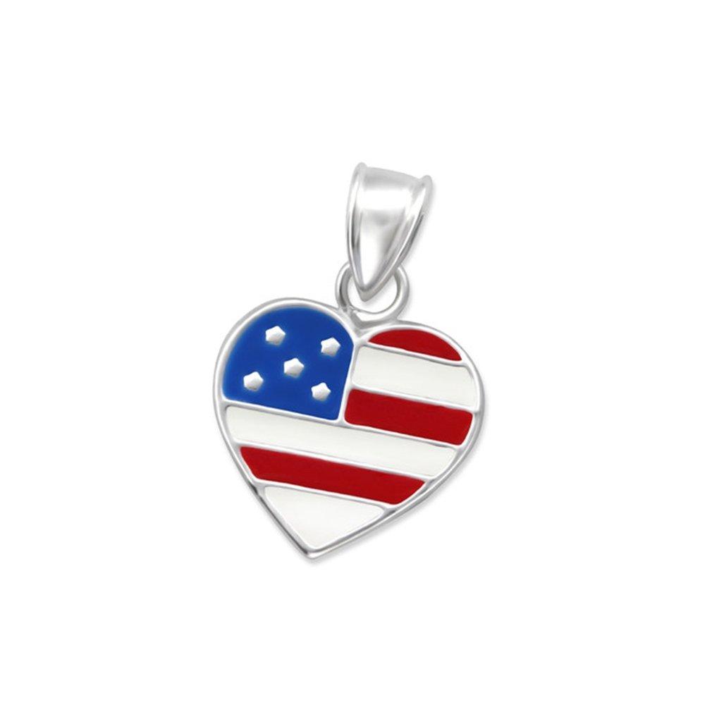 Liara Children`s Usa Flagge Anhänger Farbe + 925 Sterling Silber.Poliert und Nickelfrei 100-13773-0