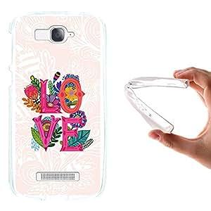 WoowCase - Funda Gel Flexible { Alcatel One Touch Pop C7 } Frase Love y Flores Carcasa Case Silicona TPU Suave