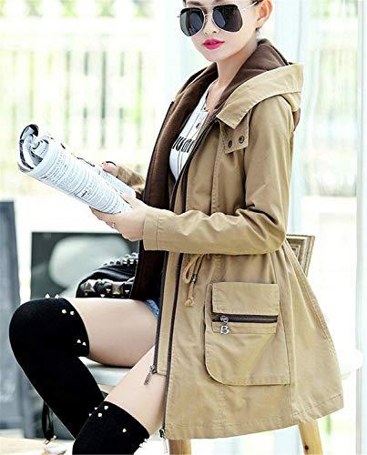 Con Cappuccio Elegante Khaki Manica Tempo Coulisse Outwear Grazioso Cappotto Giacche Autunno Cerniera Libero Di Fashion Mantello Transizione Coat Donna Lunga Primaverile SVMUzpq