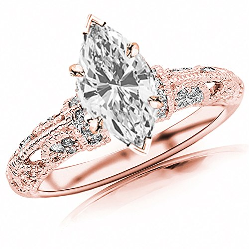 1.05 Carat t.w. GIA Certified Marquise Cut 14K Rose Gold Vintage Pave Set Round Diamond Engagement Ring (I-J Color VVS1-VVS2 Clarity Center Stones) (1.05 Ct Tw Round Diamonds)