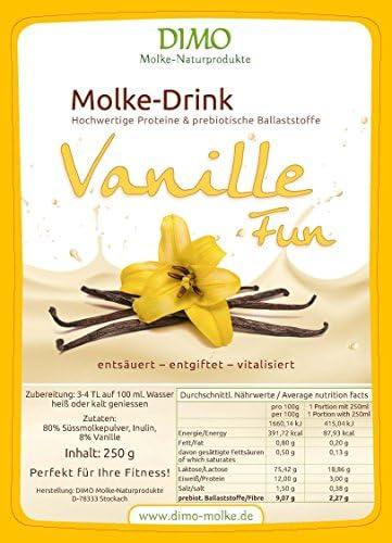 Molke Drink Vanille mit prebiotischen Ballaststoffen - Molkepulver 250 g - Trinkmolke der Hit