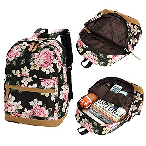 Sqoto School Backpack, Teen Girls Canvas College Bookbag with Lunch Bag Pencil Case Laptop Bag Travel Daypack by Sqoto (Image #3)