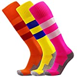 KALAKIDS Youth Soccer Socks Boys Girls 1/3/5/6 Pack Knee High Stripe Compression Football Socks (4-14 Years Kids)