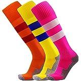 Little Girls Soccer Socks 3 Pack Kids Team Sport Training Socks (Hot Pink + Yellow + Orange) S