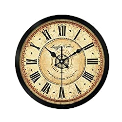 ZHAS Hotel Silent Wall Clock, Bar Kitchen Hall Entrance Balcony Classroom Living Room Bedroom The Mall Wall Clock Metal Wall Clock 30-40CM (Color : A, Size : 40 40 cm)