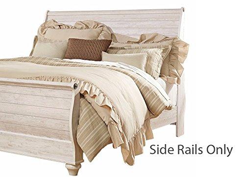 - Ashley Furniture Signature Design - Willowton Queen Sleigh Rails - Component Piece - Whitewash