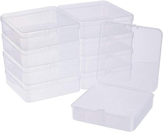 BENECREAT 10 Pack Caja de Almacenamiento de Plástico Transparente con Tapas Abatibles para Pastillas Hierbas Cuentas Pequeñas Tarjetas 9.5x9.5x3cm: Amazon.es: Hogar
