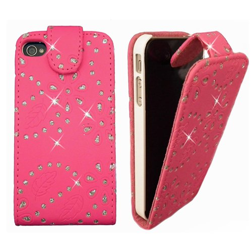 Xtra-Funky Exclusive Crystal Sparkling Diamante Glitter Flower Flip Case For Apple iPhone 5 / 5S - Pink - Designer Diamante Pink Flower