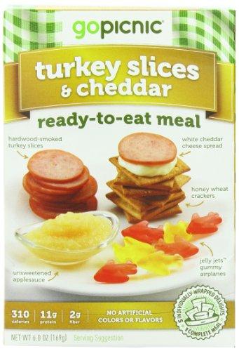 GoPicnic Ready-to-Eat Meals Turkey Slices & Cheddar, 6 oz (Pack of 6) Turkey Cheddar