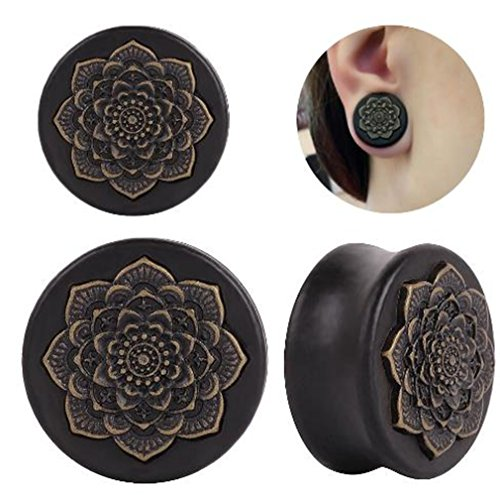 Gmhkonw Vintage Wood Inlayed Copper Flower Ear Plugs Tunnels Gauges Stretcher Piercings Jewelry (Gauge:1