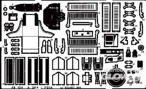 (Eduard 1:48 A-36 A/P-51 Photo-Etched Detail Set for Accurate Miniatu Kit #48134 by Eduard)