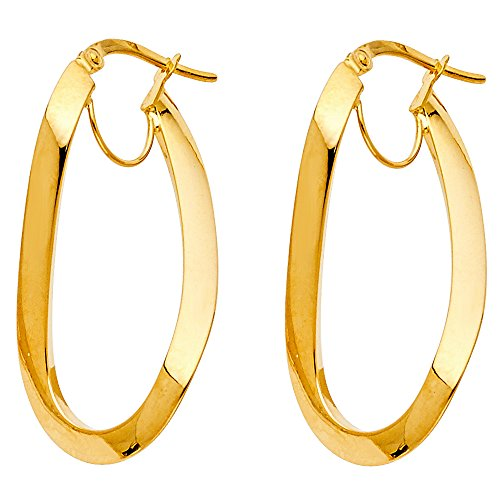 14k Gold Oval Design (TWJC 14k Yellow Gold Oval Shape Warped Design Hinged Hoop Earrings (29 x 17 mm))