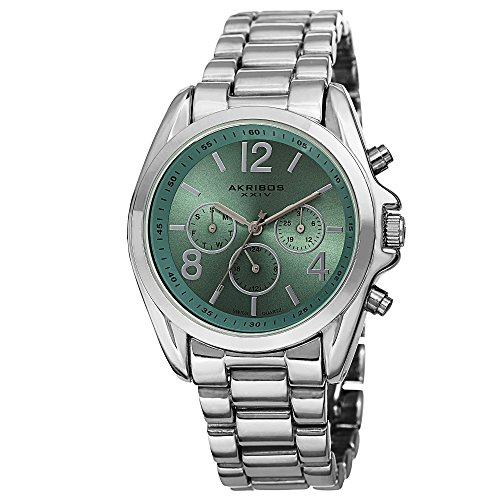 Turquoise Silver Watch Bracelet - Akribos XXIV Women's AK760SSTQ Swiss Quartz Movement Watch with Green Sunburst Effect Dial and Silver Bracelet