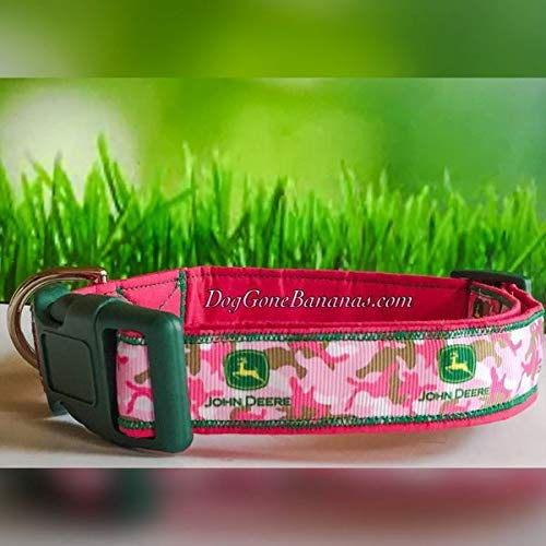 John Deere Pink Camo Dog Collar with Leash Option