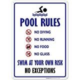 pool rules sign Pool Rules Sign, No Diving No Running No Food No Glass, 10x14 Rust Free Aluminum, Weather/Fade Resistant, Easy Mounting, Indoor/Outdoor Use, Made in USA by SIGO SIGNS