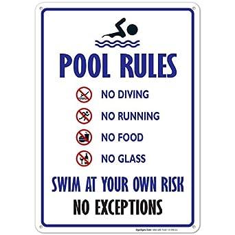 Piscina - Señal de piscina regla Sign - 14 x10 Azul, Rojo ...