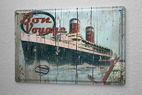 Tin Sign Travel Wanderlust Bon Voyage passenger ship anchor Metal Plate - Anchor Bon Voyage