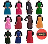 Trendbox Total 11 PCS Plain Color Bib Apron Adult Women Unisex Durable Comfortable with Front Pocket Washable For Cooking Baking Kitchen Restaurant crafting