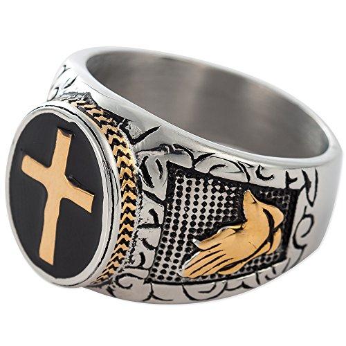 (Jude Jewelers Christian Holy Cross Prayer Ring Stainless Steel Black Enamel Religious (9))