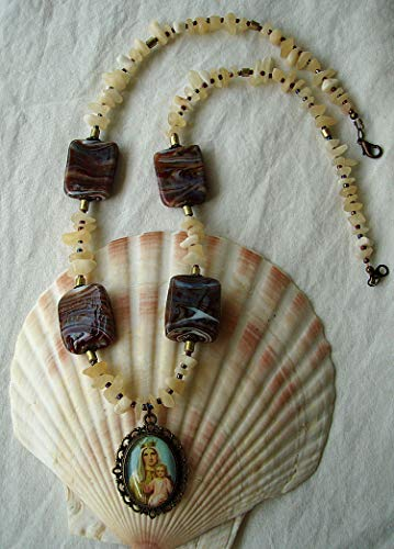 Marian Devotional Necklace w/Swirl Lampwork Glass, Aragonite, Gold Painted Wood -