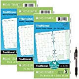 Day-Timer Refill 2019, Two Page per Month, January 2019 - December 2019, 3-3/4'' x 6-3/4'', Loose Leaf, Portable Size, Classic (87129) 3 Pack- Bundle Includes 1 Black Ballpoint Pen