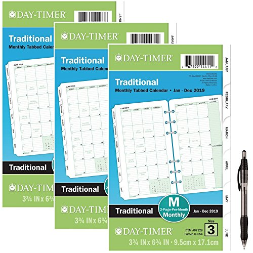 Day-Timer Refill 2019, Two Page per Month, January 2019 - December 2019, 3-3/4'' x 6-3/4'', Loose Leaf, Portable Size, Classic (87129) 3 Pack- Bundle Includes 1 Black Ballpoint Pen by Day-Timer