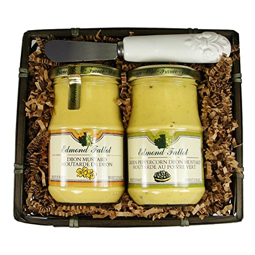French Dijon Mustard Gift Basket with Spoon Spreader