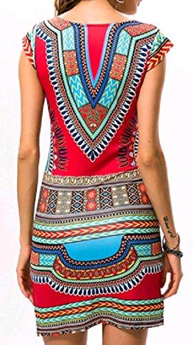 Scollo Donne manica Aderente Africano Stile Partito Rosso Matita A Vestito Coolred Corta Stampa Elegante V wTRHaFx