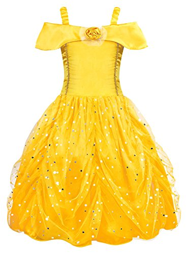AmzBarley Belle Princess Dress for Girls Halloween Role Play Toddler Kids Fancy Party Cosplay Clothes Age 2 Years Size 2T -