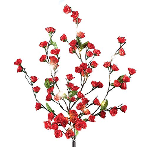 Collections Etc Solar Red Rose Bush Stake with 15 LED Sparkling Lights and Adjustable Branches - Shining Outdoor Decorative Accessories