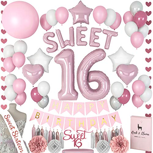Stunning Sweet 16th Birthday Decorations Party Supplies + (SASH) + (SWEET Letter Balloons) + (Sixteen Cake Topper) | Rose Gold Pink Fuchsia 16th BDay | (71+ Items)