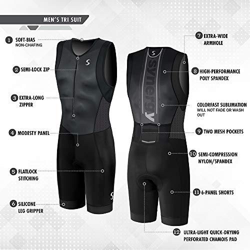 Synergy Triathlon Tri Suit Men's Trisuit (Blue/Geo, X-Large) by Synergy (Image #2)