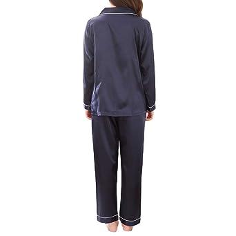 Rcool Camisones Batas y Kimonos Camisones Mujer Camisones Verano Camisones Tallas Grandes Mujer, Conjunto de Pijamas de Manga Larga de Color Puro para ...