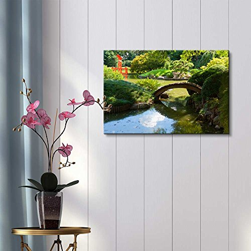 Japanese Garden and Pond with a Red Zen Tower Wall Decor