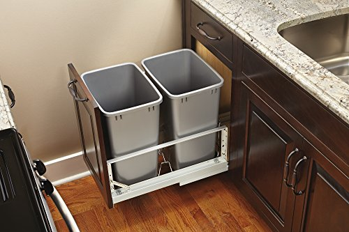 Rev-A-Shelf - 5349-18DM-217 - Double 35 Qt. Pull-Out Brushed Aluminum and Silver Waste Container by Rev-A-Shelf